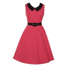 Courtney Vintage Style Swing Dress in Red Polka Dot with Black Collar