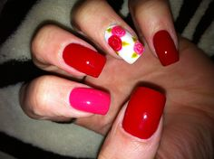 Gel nail art -INT's Anguish, Sea Breeze, White and Sorbet colored gel. Roses done with gel.