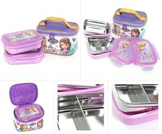 Disney Little Princess Sofia Double Lock Stainless Steel Two Stages Lunch Box with Bag 042240