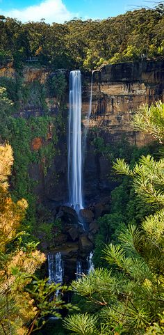Fitzroy Falls in Australia;  photo by stevoarnold, via Flickr   ...notice the people on a platform on the very top left...