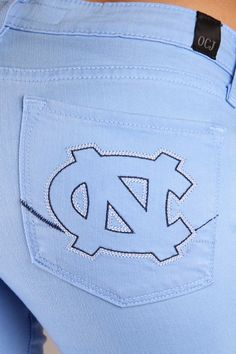 OCJ Apparel | Premium Collegiate Denim | North Carolina Tar Heels Skinny Jeans Branded in Blue | www.ocjapparel.com