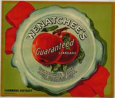 WENATCHEE'S GUARANTEED Vintage Apple Crate Label
