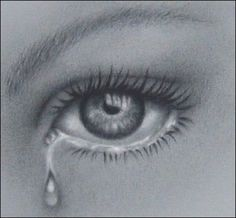 Pencil drawings, Detailed Eye with tear. Focus on the detail of the iris and the glossy shading.