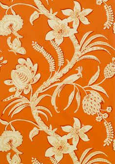 Ecuador wallpaper & printed fabric in Orange from the Avalon Collection by #Thibaut  #tangerinetango #tropicalfloral
