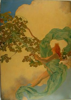 Maxfield Parrish, Girl on a Swing, n.d.