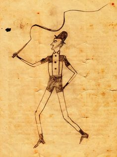 """Anonymous Folk Art Drawing 19th Century """"Man with a Whip"""" collection Jim Linderman Dull Tool Dim Bulb (From the book Eccentric Folk Art Drawings)"""