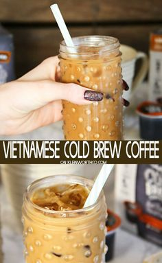 Vietnamese Cold Brew Coffee is a simple and easy java recipe to get you going. Vietnamese Cold Brew Coffee is a simple and easy java recipe to get you going. 4 ingredients & less than 5 minutes & you'll have a delicious coffee drink. Liquor Drinks, Fun Drinks, Yummy Drinks, Beverage, Vietnamese Coffee Recipe, Vietnamese Recipes, Cold Brew Coffee Recipe, Cold Coffee Drinks, Deserts
