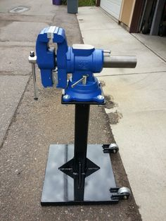 Vise and Grinder stands. I'm looking for ideas on how to use several in limited space – Page 17 – The Garage Journal Board Metal Workshop, Workshop Storage, Garage Workshop, Tool Storage, Workshop Ideas, Workbench Vice, Woodworking Workbench, Welded Metal Projects, Welding Projects