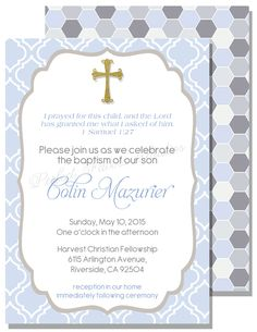 baptism invitations Baptism Themes, Baptism Ideas, Boy Baptism, Baby Christening, Baptism Invitation For Boys, Christening Invitations Boy, First Communion Invitations, Invites, Wedding Invitations