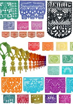 variety of Papel Picado Designs, much inspiration to be found in this one pic!