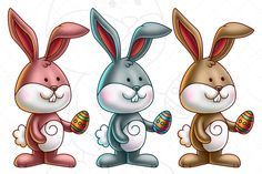 Check out Cute Bunny Holding an Easter Egg by pixaroma on Creative Market