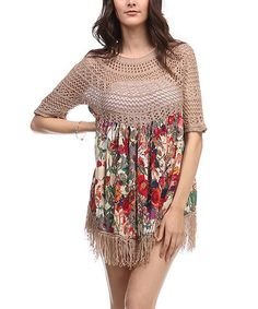 Look what I found on #zulily! Khaki Floral Crochet-Accent Fringe Top #zulilyfinds..https://zulily.com/invite/cgaebel