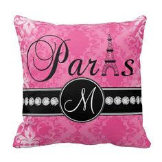 Love this hot pink damask pillow with Paris and personalized monogram initial with black trim - so cute in a little girl's nursery Paris Rooms, Paris Bedroom, Pink Damask, White Damask, Design Baroque, Throw Pillow Cases, Throw Pillows, Pillow Covers, Decoupage