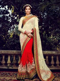 Super net georgette Cream & Red Indian fashion half saree with blouse D15260