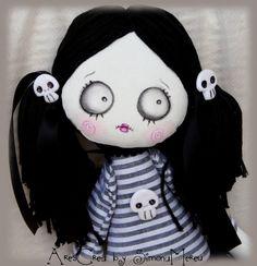Ortica #handmade spooky gothic / #zombie art cloth #doll by AresCrea, $52.00
