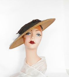 1940s straw hat, vintage tilt Joal 23, WW2 era, excellent by TheVintageHatShop on Etsy