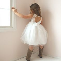 Open Back Flower Girl Dress, Rustic Flower Girl Dress, Country Flower Girl Dress, Tulle Tutu Girls D Flower Girl Dresses Country, Rustic Flower Girls, Flower Girl Tutu, Lace Flower Girls, Off White Dresses, Trendy Dresses, Girls Dresses, New Dress, Lace Dress