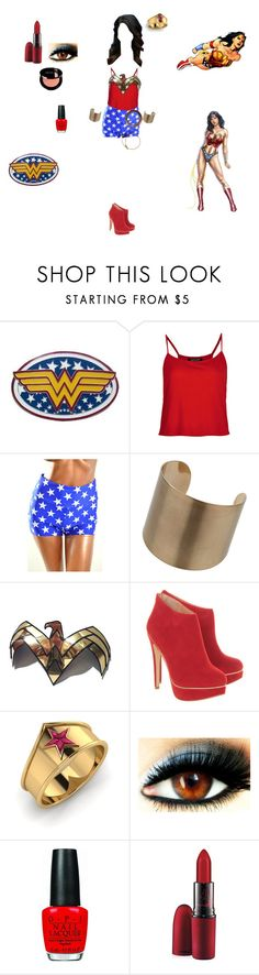 """Wonder Woman look"" by tributee ❤ liked on Polyvore featuring Religion Clothing, Topshop, Wallis, Office, OPI and MAC Cosmetics"