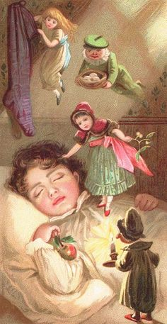 Vintage Christmas Children's Book Illustration.... Fairies Delivering Christmas Gifts