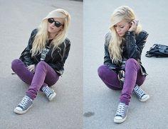 Violet jeans (by Aneta M) http://lookbook.nu/look/3298733-violet-jeans