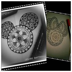 Mickey Mouse mandala, to go with Minnie I did last year #mickeymouse…