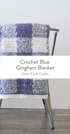Free Pattern - Crochet Blue Gingham Blanket