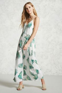 $24.90 Forever 21 Contemporary - A woven sleeveless maxi dress featuring an allover palm leaf print, self-tie belted waist with tasseled ends, a V-neckline, and a V-cut back with a strap.#affiliatelink