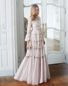 """""""Roses"""" dove-gray tulle tiered wedding dress with scalloped details dresses Needle & Thread Fall 2017 Wedding Dress Collection Evening Dresses, Prom Dresses, Formal Dresses, Bridal Collection, Dress Collection, Pretty Dresses, Beautiful Dresses, Romantic Dresses, New Wedding Dresses"""