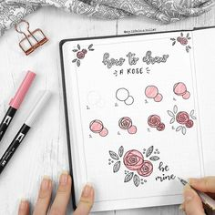 Small rose step by step post of how to draw a beautiful rose by @my.life.in.a.bullet |  notebooktherapy