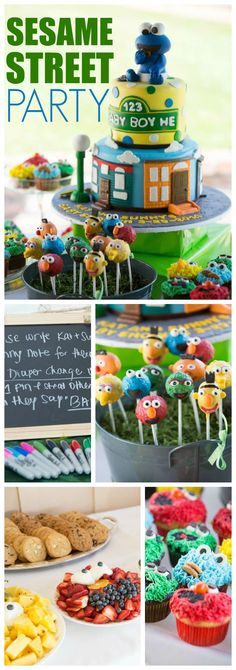 What an adorable Sesame Street baby shower! Cute decorations and yummy desserts! See more party ideas at CatchMyParty.com!