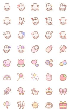 fluffy-kawaii-rabbit – LINE อิโมจิ Cute Small Drawings, Mini Drawings, Cute Kawaii Drawings, Doodle Drawings, Stickers Kawaii, Cute Stickers, Kawaii Doodles, Cute Doodles, Cute Doodle Art