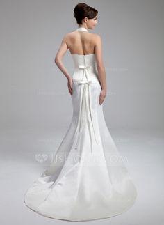 Trumpet/Mermaid Halter Court Train Satin Wedding Dress With Ruffle Bow(s) (002000058)
