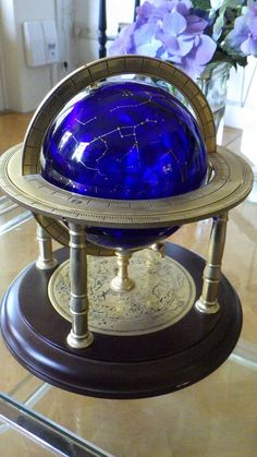 Constellation Globe of Kobalt Blue Crystal glass on standard of Franklin Mint…