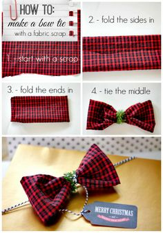 DIY gift wrap with old clothes... how to make a bow tie with a fabric scrap!