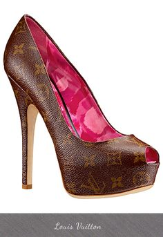 Louis Vuitton Monogram Pump with Pink Floral Print Lining