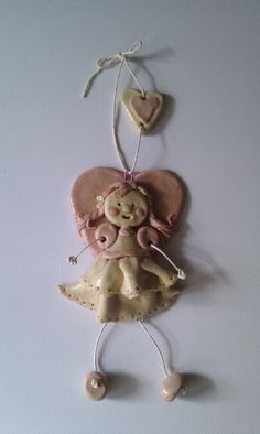 Handmade heart fairy hanging ornament.  This is very detailed from her hair to her layered skirt from £8.45