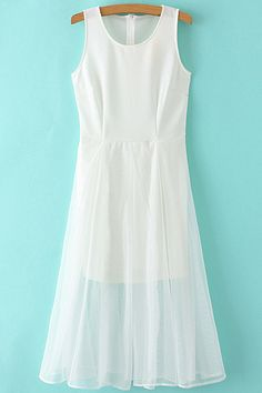 Voile Spliced Round Collar Sleeveless White Dress