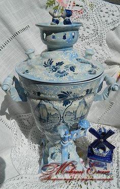 Самовар из АмстердамУ - голубой,самовар,авторская работа,ручная авторская работа