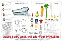 Free Jesse Bear Printables (Before Five In a Row)