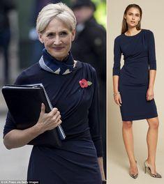 ba9c154975 11 8 2017 - Catherine Quinn wears The Fold Clifton Dress Navy Jersey.