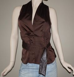 Arden B Brown V-Neck Low Cut Top Blouse with Pleated Belt Size L