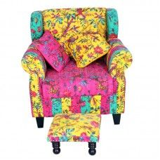 Elegance and style manifested in this multi hued and multi patterned padded chair with a low equally attractive foot rest. Chair Pads, Foot Rest, Hue, Armchair, Sofa, Elegant, Pattern, Furniture, Home Decor
