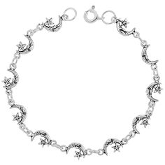 Sterling Silver Dainty Crescent Moon Bracelet for Women and Girls, 1/4 wide 7.5 inch long -- You can get additional details at the image link. (This is an affiliate link and I receive a commission for the sales)