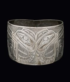 carved Haida silver Cormorant bracelet, by Charles Edenshaw, late 19th C.
