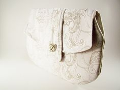 White Clutch White Purse with Brown Paisley...