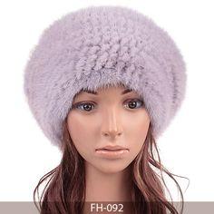 MBA Furs-Lady's Knit Mink Fur Beret with Fur Pom Pom FH-092(5)(Light Purple)
