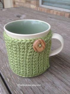 Handmade Crochet Coffee Mug Cozy in Green  Eco by TheHookster
