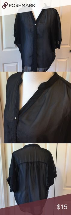 Black Sheer Blouse Silver button front blouse. 100% polyester The Vintage Shop Tops Blouses