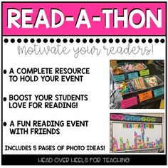 Want to hold a fun and motivating reading event in your classroom? This resource has everything you need! 70 pages of ideas, photos,… Reading Tips, Reading Resources, Reading Strategies, Reading Comprehension, Ar Reading, Reading Projects, Reading Intervention, Reading Workshop, Reading Activities