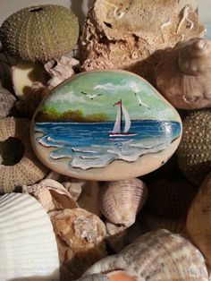 Beach stone painting Seascape painting stone Painted rock